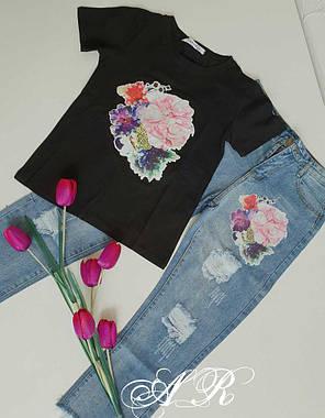 Костюм джинсы и футболка с накаткой цветок пайетка, фото 2