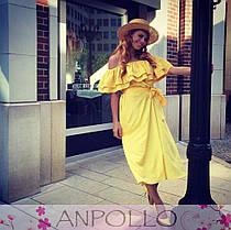 Платье летнее с открытыми плечами и двойной рюшей, фото 2