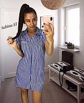 Платье рубашка с кармашками и воротником в полоску, фото 2