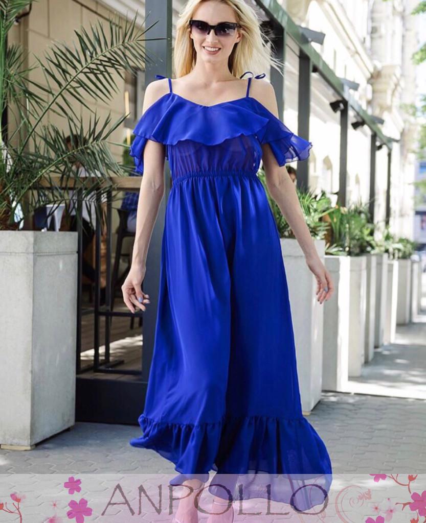 Платье в пол на тонких бретельках с рюшей на груди