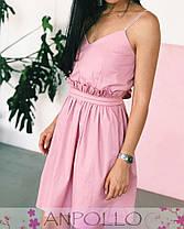 Платье из хлопка на бретелях с поясом выше колена, фото 2