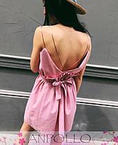 Платье из хлопка на бретелях с поясом выше колена, фото 3