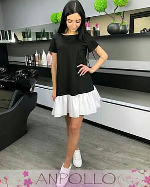 Плаття літнє чорне з білим воланом софт, фото 2
