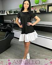 Плаття літнє чорне з білим воланом софт, фото 3