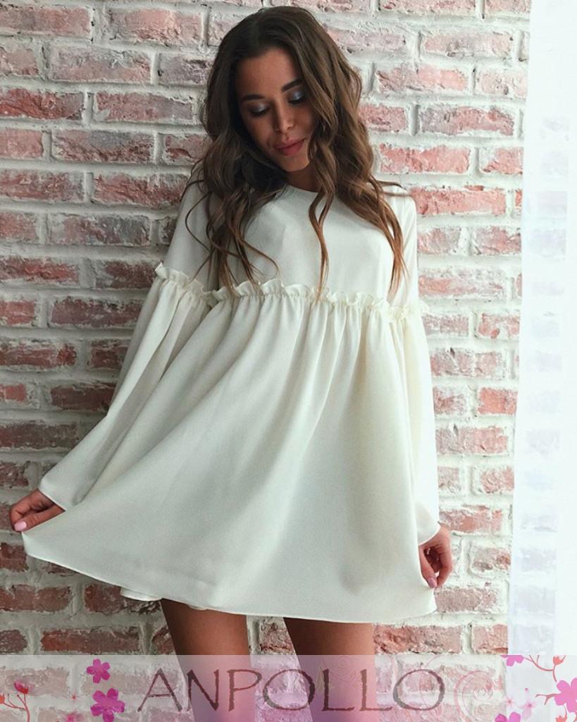 Платье свободное с широким рукавом шифон