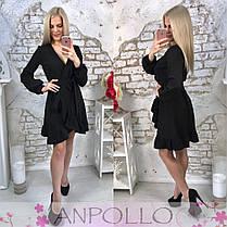 Платье на запах с рюшей и поясом костюмка люкс, фото 2