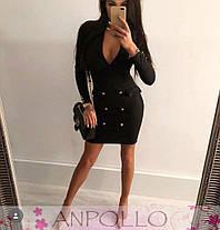 Платье на запах с декольте и пуговицами длинный рукав, фото 3