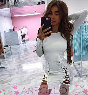 Платье со шнуровкой и люверсами длинный рукав, фото 2