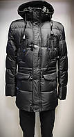Куртка зимняя длинная мужская,пуховик чёрный, Турция