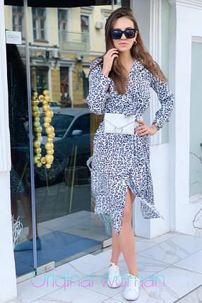 Платье рубашка с поясом и длинным рукавом с принтами, фото 2