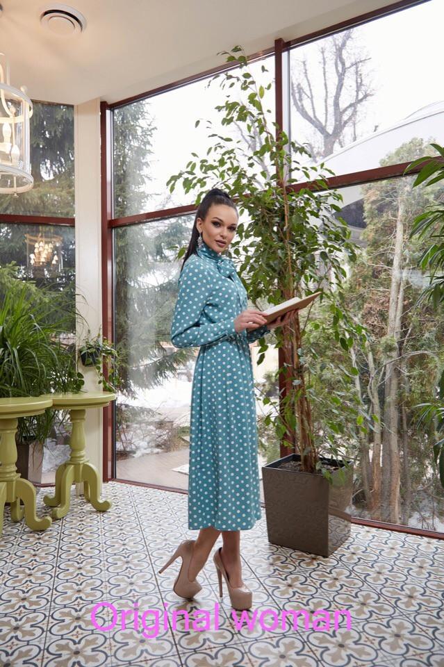 Платье макси в горошек ниже колена высокая талия с рукавом