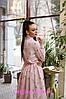 Платье макси в горошек ниже колена высокая талия с рукавом, фото 3