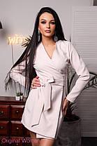 Платье на запах с поясом и длинным рукавом костюмка, фото 2