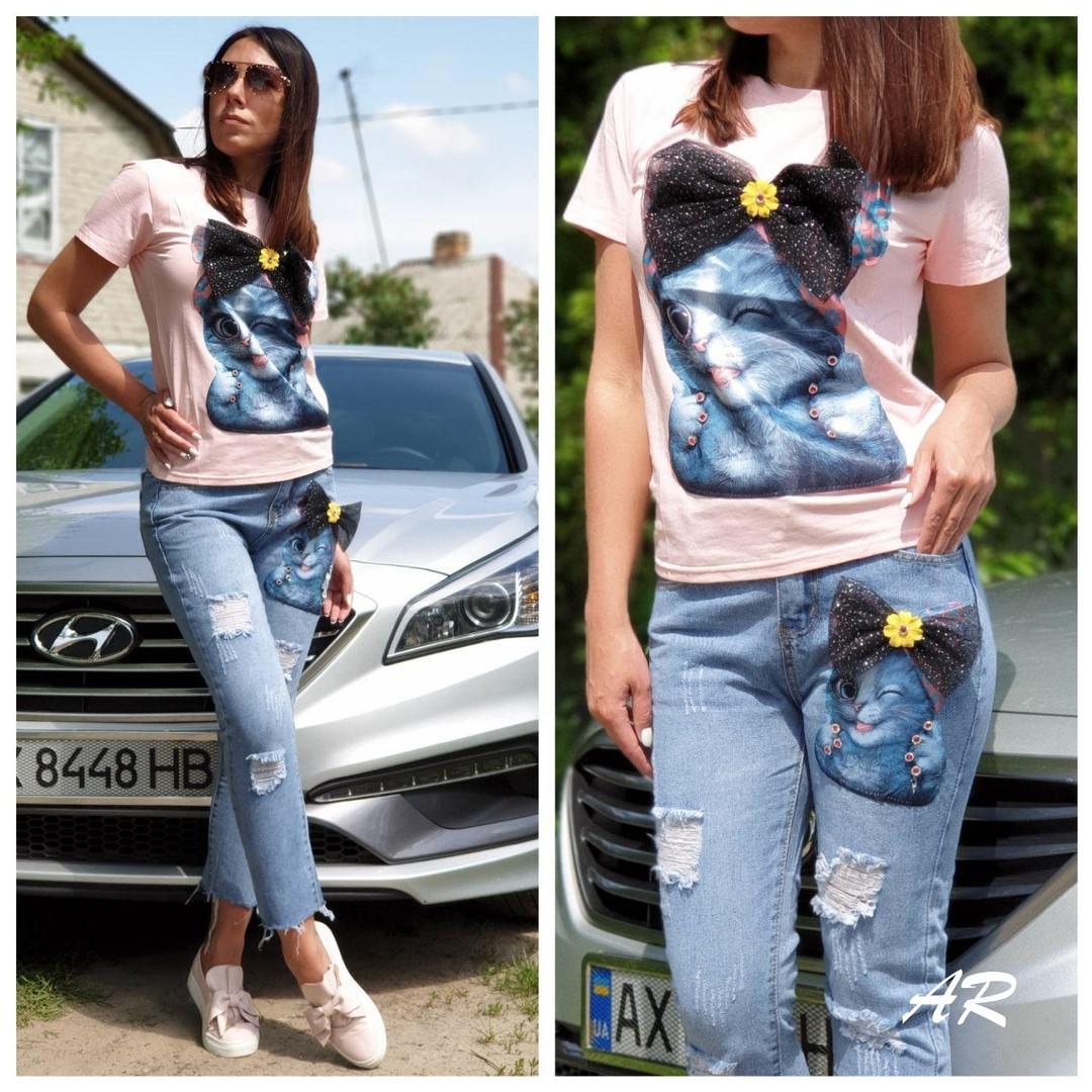 Костюм джинсы и футболкой котик с бантом