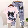 Костюм джинсы и футболкой котик с бантом, фото 5
