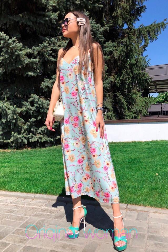 Платье сарафан на бретельках в пол свободное с цветами