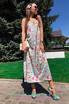 Платье сарафан на бретельках в пол свободное с цветами, фото 2