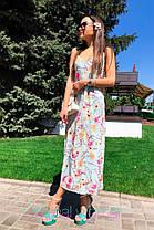 Сукня сарафан на бретельках в підлогу вільний з квітами, фото 2