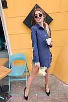 Стильне плаття сорочка з кнопками коміром і кишенею, фото 2