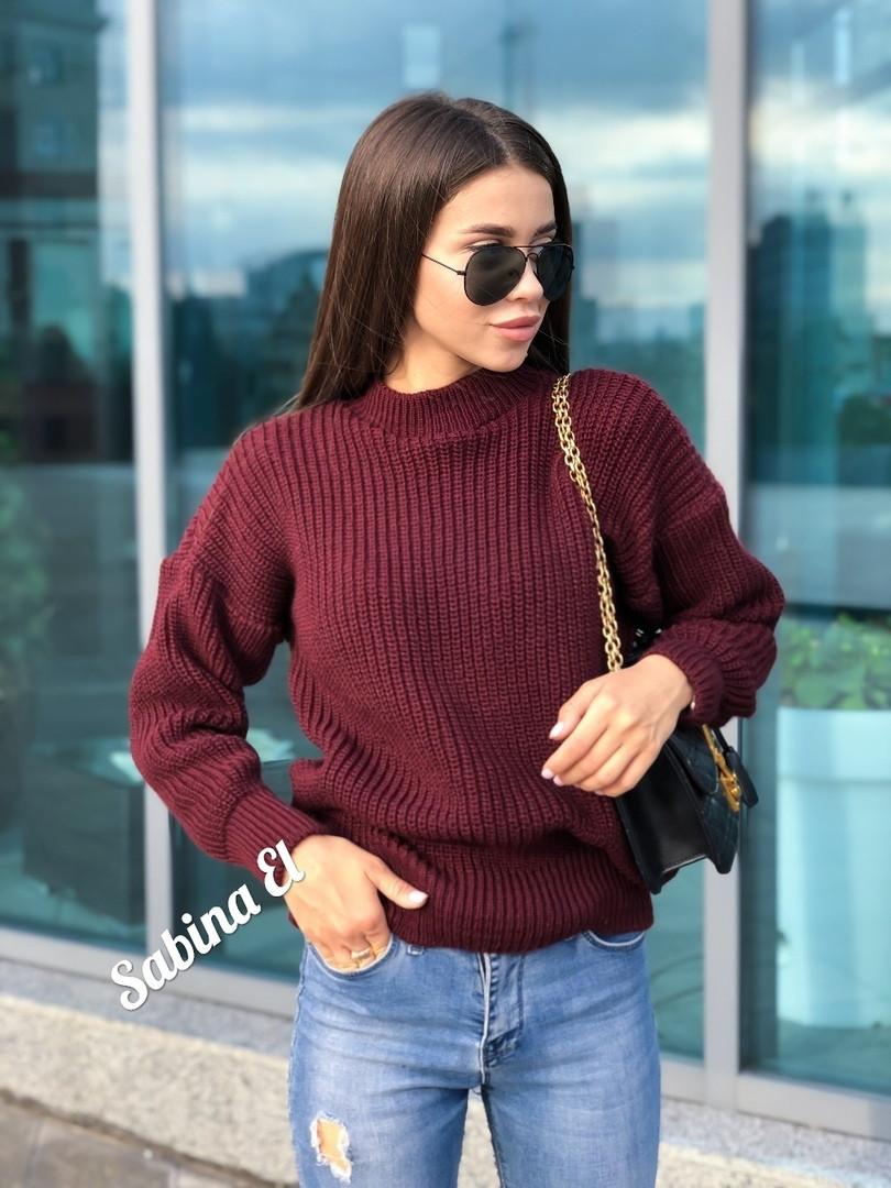 Стильный женский теплый вязаный свитер из шерсти