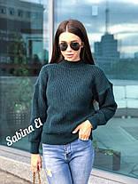 Стильный женский теплый вязаный свитер из шерсти, фото 2