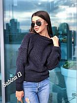 Стильный женский теплый вязаный свитер из шерсти, фото 3