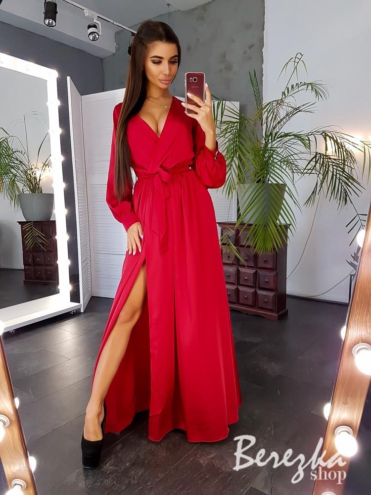 Красивое вечернее платье в пол с разрезом шелк