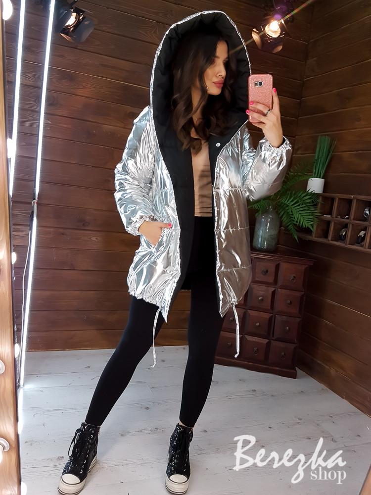 Женская двyxcтopoнняя блестящая куртка зефирка хит сезона