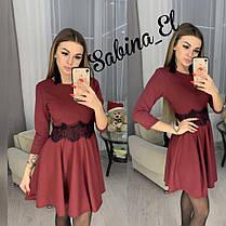 Стильное платье мини с пышной юбкой и кружевным поясом, фото 3