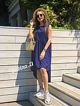 Тренд жаркого лета легкое платье из софта свободное с высокой талией сзади длинее, фото 3