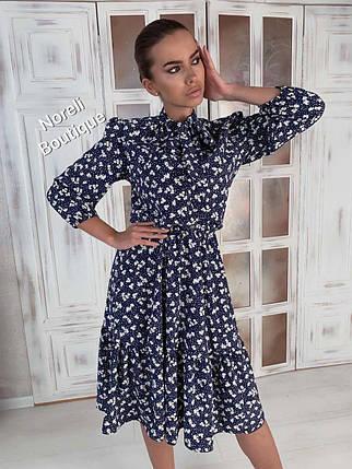 Сукня міді літній вільний з високою талією на гумці, фото 2