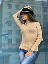 Базовий жіночий гольф під горло, довгий рукав, фото 2