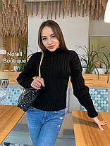 Женский теплый вязаный свитер под горло в полоску, фото 2