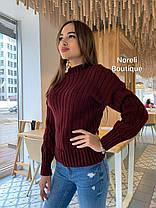 Женский теплый вязаный свитер под горло в полоску, фото 3