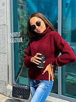 Свободный женский теплый свитер гольф под горло, фото 3