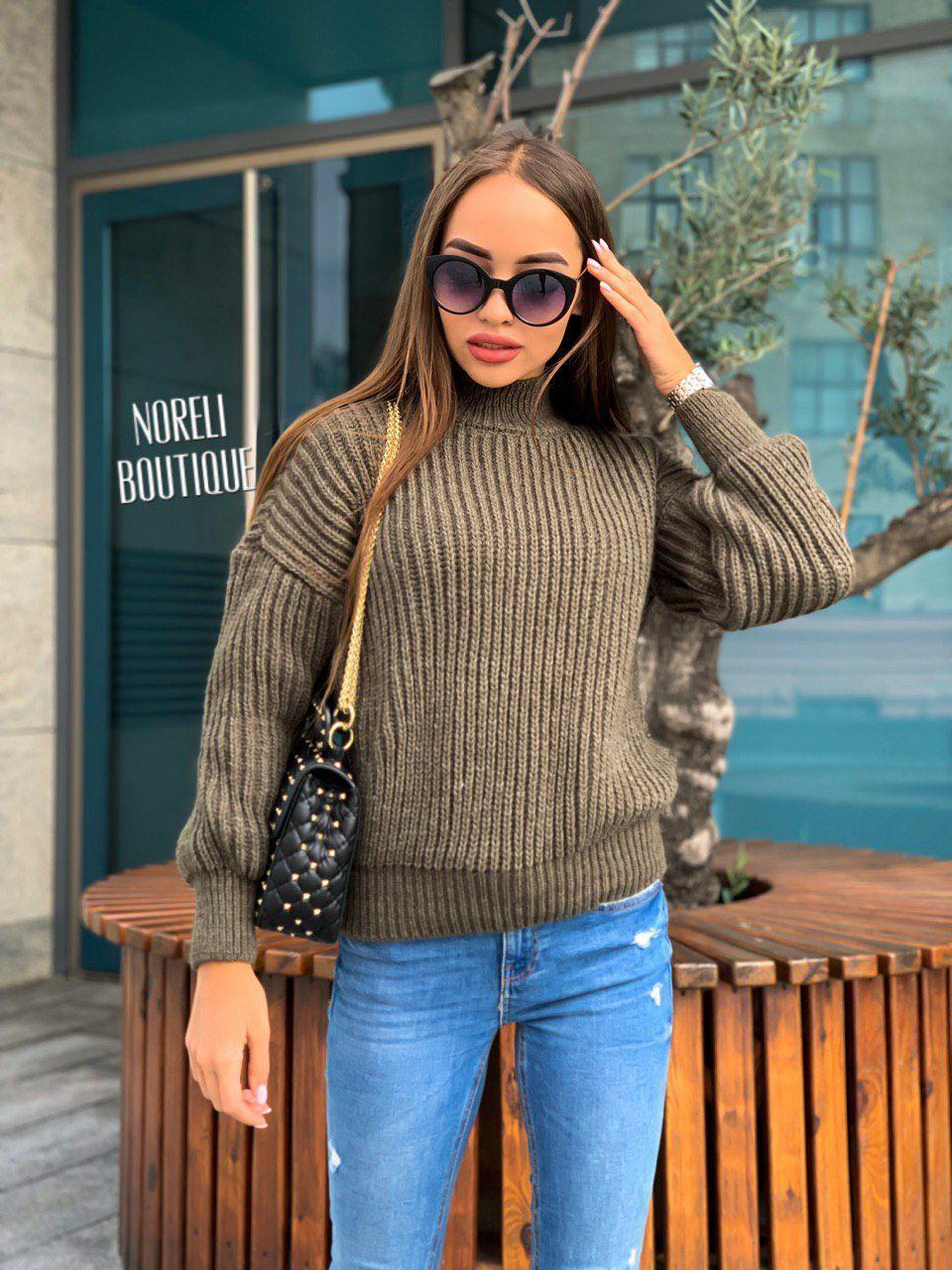Свободный женский теплый свитер крупная вязка