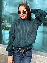 Свободный женский теплый свитер крупная вязка, фото 3