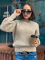 Свободный женский теплый свитер крупная вязка, фото 2