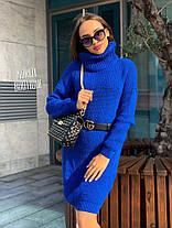 Свободное платье туника теплое вязаное с длинным рукавом, фото 2