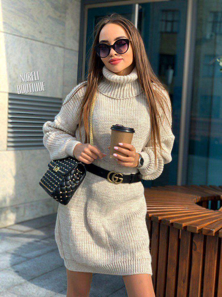 Свободное платье туника теплое вязаное с длинным рукавом