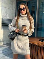 Стильне плаття туніка тепле в'язане з довгим рукавом, фото 2
