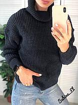 Теплый свитер гольф вязаный под горло, фото 2