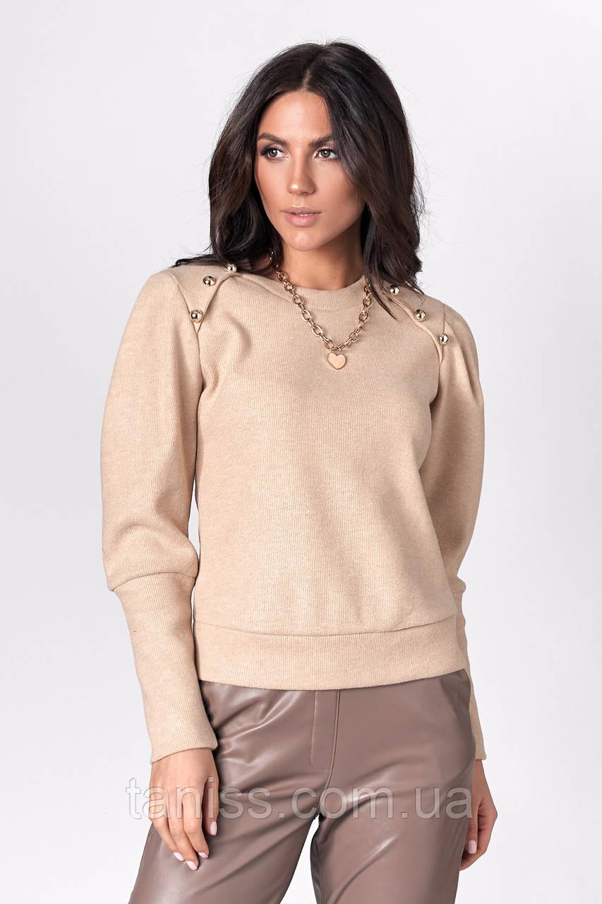 Женский стильный свитерок, ткань трикотаж ангора рубчик , р. 42,44,46,48  (  480.3 )  бежевый,кофта