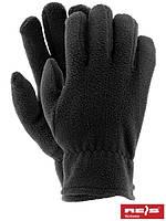 Перчатки рабочие флисовые одинарные черные (перчатки зимные утепленные флисовые) REIS Польша RPOLAREX B
