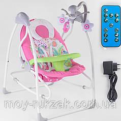 Детский шезлонг-качалка, музыкальный, карусель с подвесками, с пультом 3 в 1 JOY, 91×62×72 см, СХ-30858
