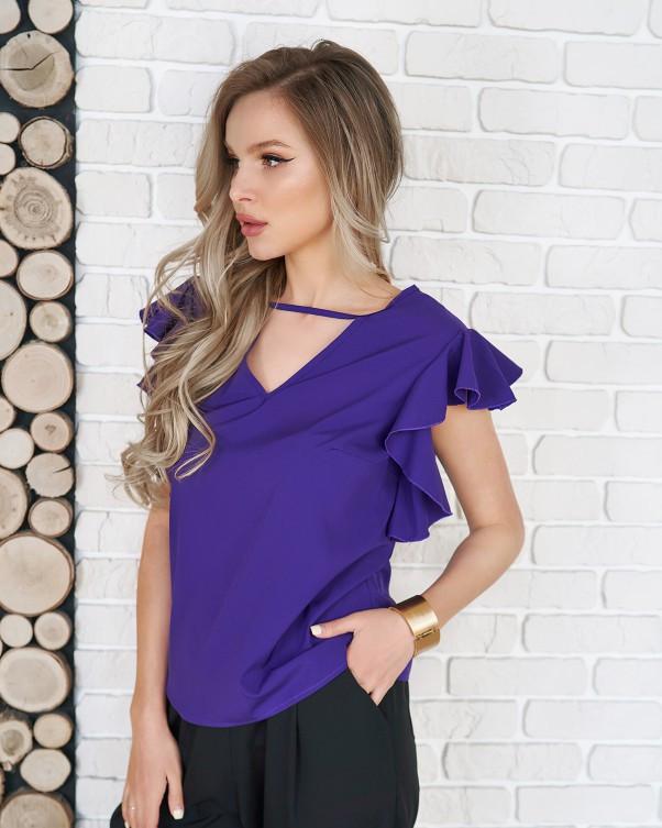 Фиолетовый блуза с вырезами и воланами