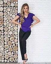 Фиолетовый блуза с вырезами и воланами, фото 3
