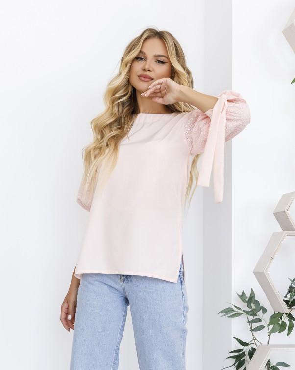 Розовая комбинированная блуза с рукавами-фонариками