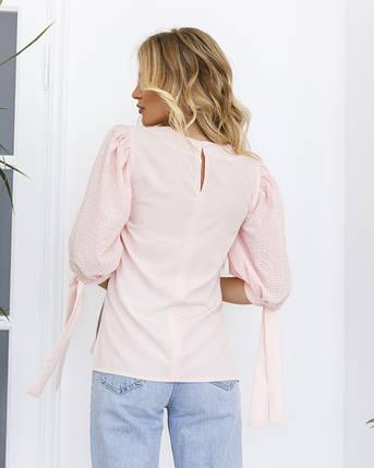 Розовая комбинированная блуза с рукавами-фонариками, фото 2