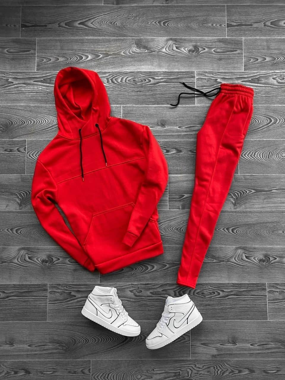 Мужской спортивный костюм утепленный c капюшоном красный OC 4